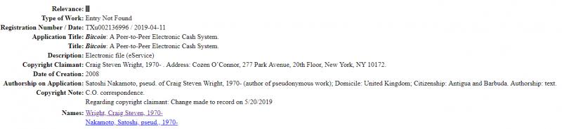 Крейгу Райту удалось зарегистрировать авторские права на white paper и код биткоина