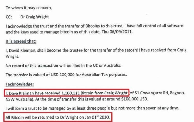 Крейг Райт заявил, что через неделю он получит доступ к 1 млн BTC