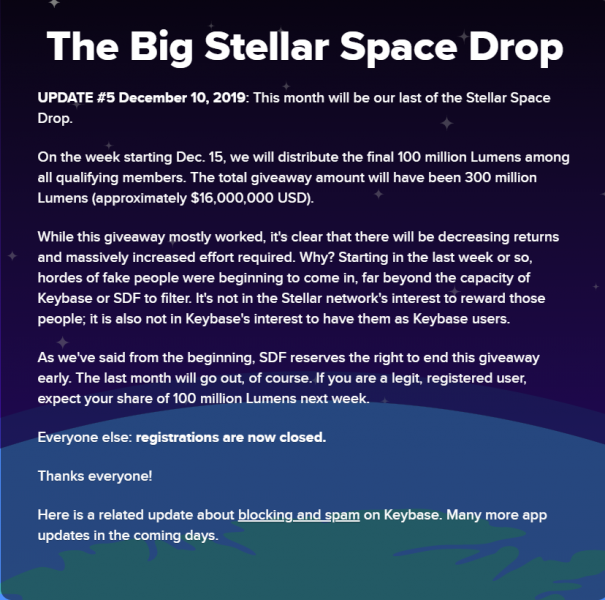 В Stellar отказались от эйрдропа на 2 млрд XLM