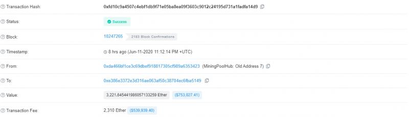 В сети Ethereum зафиксирована еще одна транзакция с необычно высокой комиссией