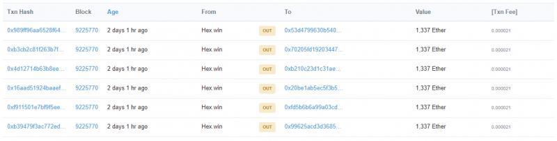 Основная часть средств выведена с Ethereum-адреса HEX