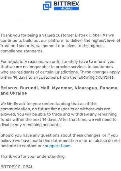 Bittrex Global прекращает обслуживать резидентов Белоруси и Украины