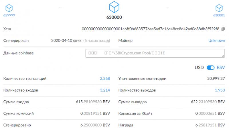 В сети Bitcoin SV прошел халвинг