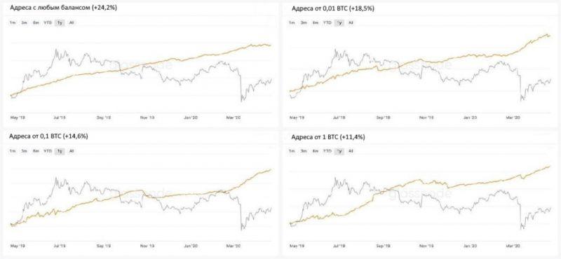 Аналитики Glassnode зафиксировали увеличение числа активных биткоин-адресов