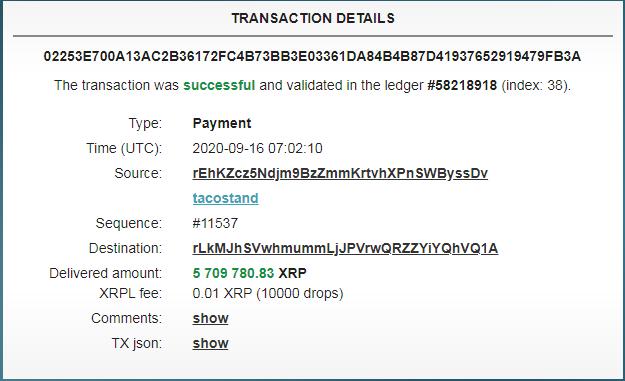 Трекер XRPL Monitor зафиксировал несколько крупных XRP-транзакций за последние сутки