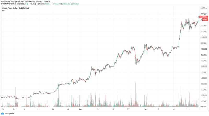 Цена биткоина поднялась до нового исторического максимума