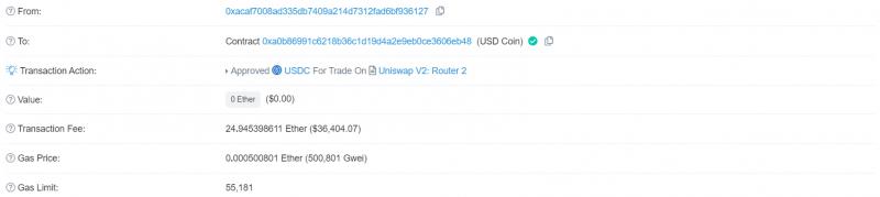 Пользователь по ошибке заплатил 25 ETH за одобрение транзакции