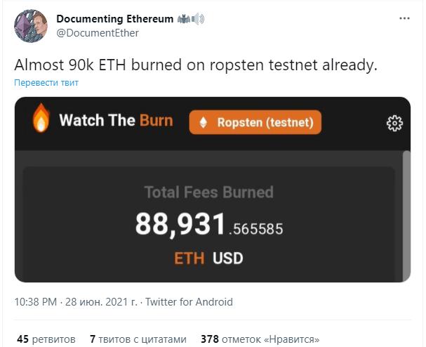 Активность в сети Ethereum превзошла показатели биткоина