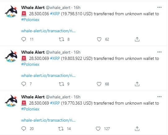 Whale Alert: Биржи переместили 195,5 млн XRP за последние сутки