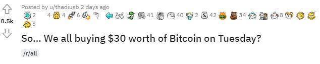 Пользователи Reddit призывают всех купить биткоин на $30