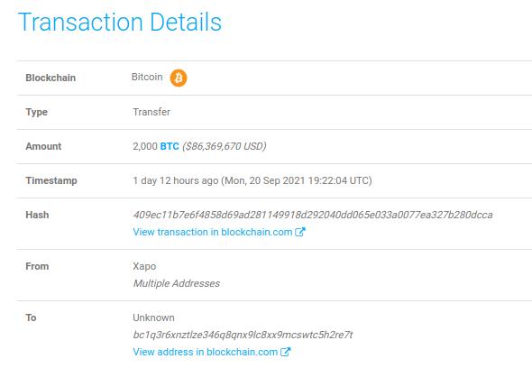 Из криптохранилища Xapo вывели 2000 BTC