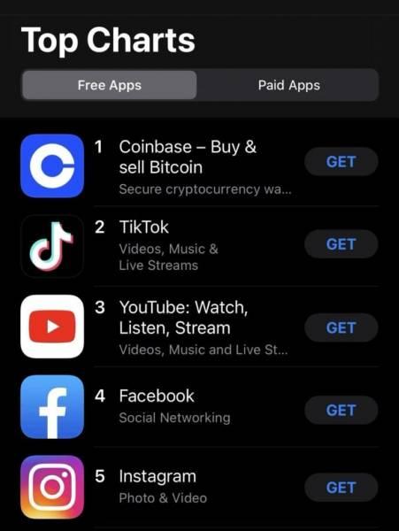 Приложение Coinbase стало лидером в рейтинге App Store США